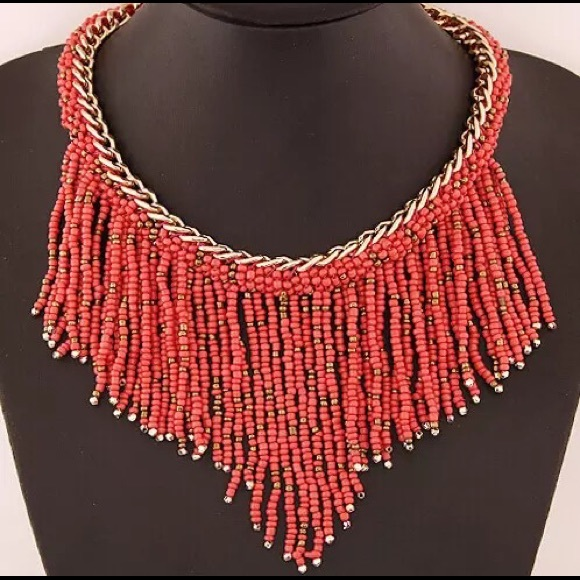 Jewelry - 🆕 Red Beaded Bohemian Statement Necklace